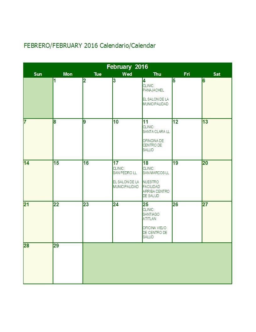 Feb 2016 Calendar