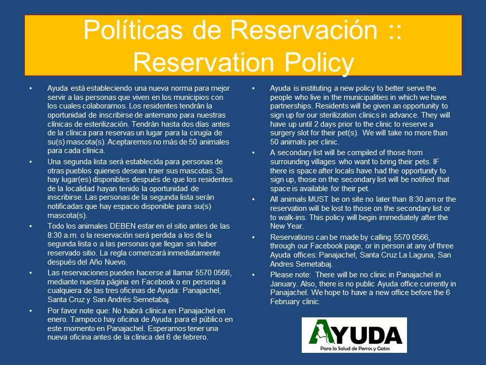 Políticas de Reservación.Dec2019